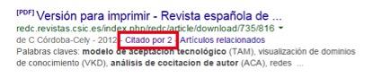 Ejemplo de cocitación en SERP Google