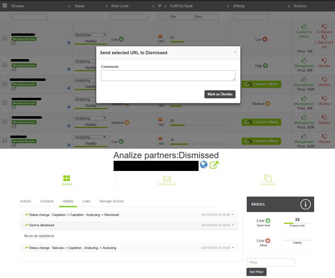 Desestimar una URL en FuSEOn Link Affinity