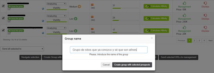 Crear grupo de dominios para trabajar con ellos en FuSEOn Link Affinity
