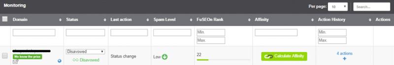 Enlace desautorizado reconocido por FuSEOn Link Affinity