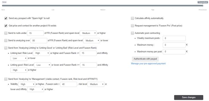 Automatización en FuSEOn Link Affinity